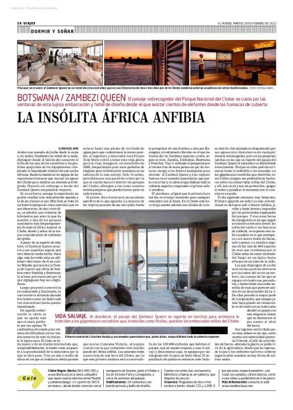 Reportaje sobre el Zambeze Queen, Botswana, que publiqué en El Mundo