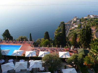 El mar de Taormina desde el Grand Hotel San Pietro