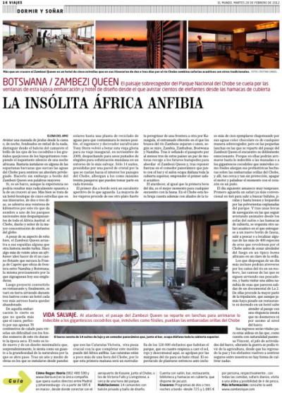Reportaje Zambezi Queen, El Mundo feb 2012